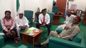 NIFT Chairman, Dr Ben Anyene (1st from Right) and WAVA Convener, Dr Chizoba Wonodi (1st from left) during a meeting with the Chairman Hon. Chike Okafor, Vice Chairman Hon. Mohammed Usman and Clerk of the House Committee on Health Care Services.